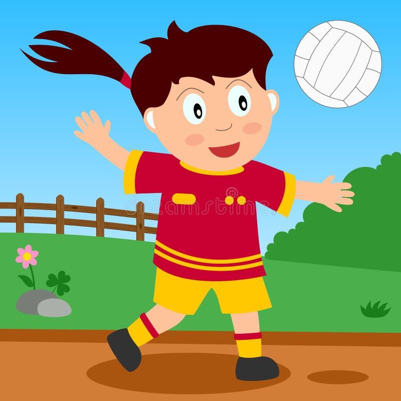 Volleyball-Mädchen im Park lizenzfreie abbildung