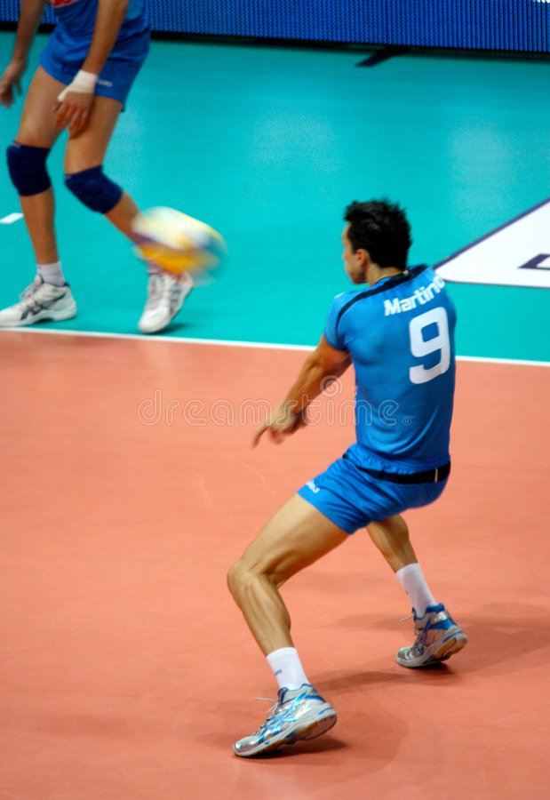 Volleyball: Matteo Martino receiving royalty free stock photo