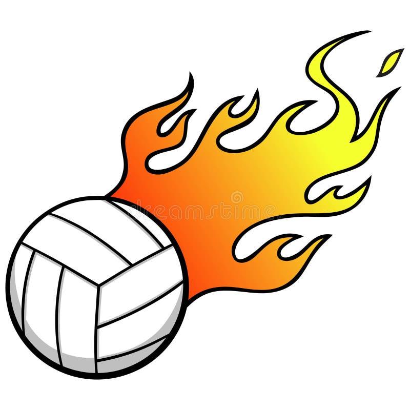 Volleyball met vlammen royalty-vrije illustratie