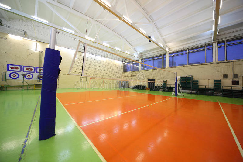Download Volleyball Net Inside Lighted School Gym Hall Stock Photo - Image: 20918284