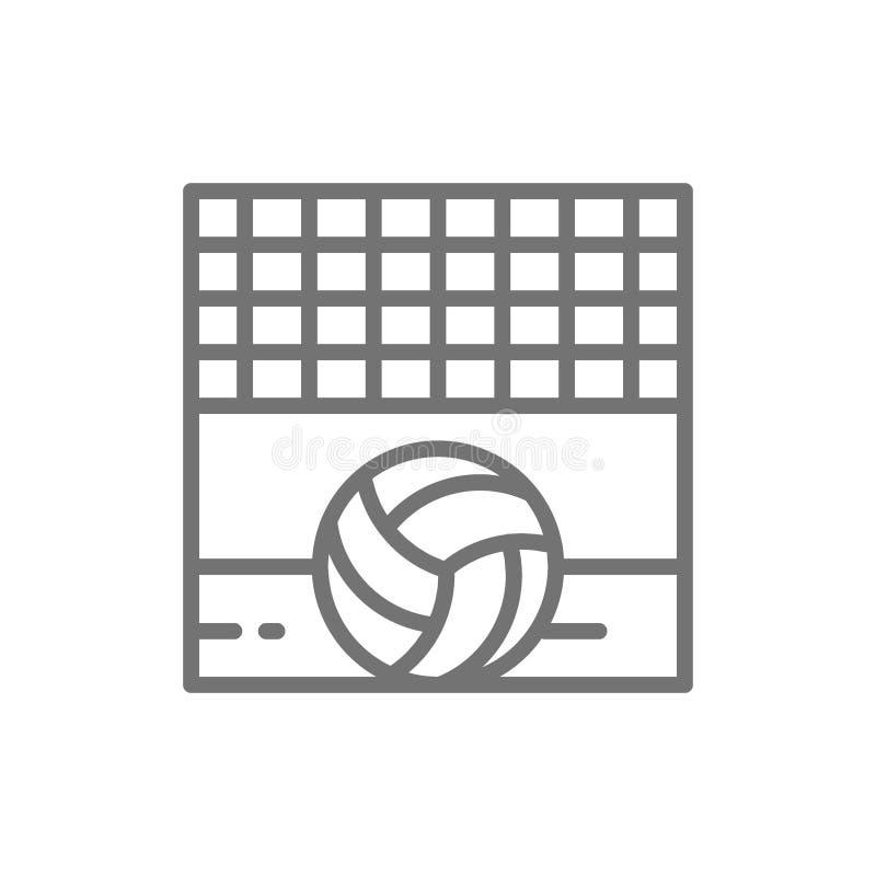 Volleyball netto met bal, de lijnpictogram van het zandstrand royalty-vrije illustratie