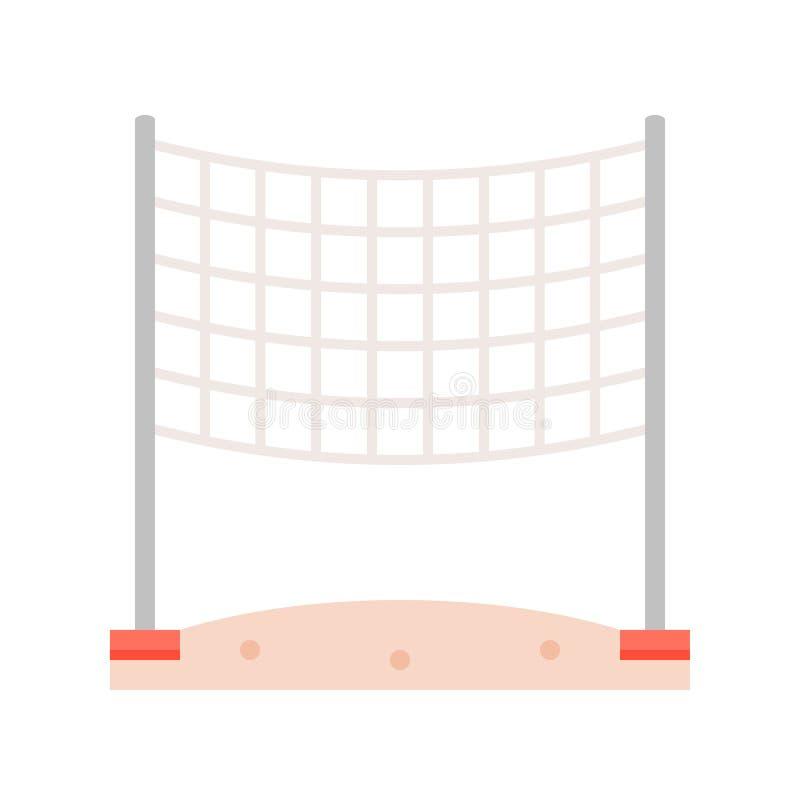 Volleyball netto op het vlakke pictogram van het strandzand stock illustratie