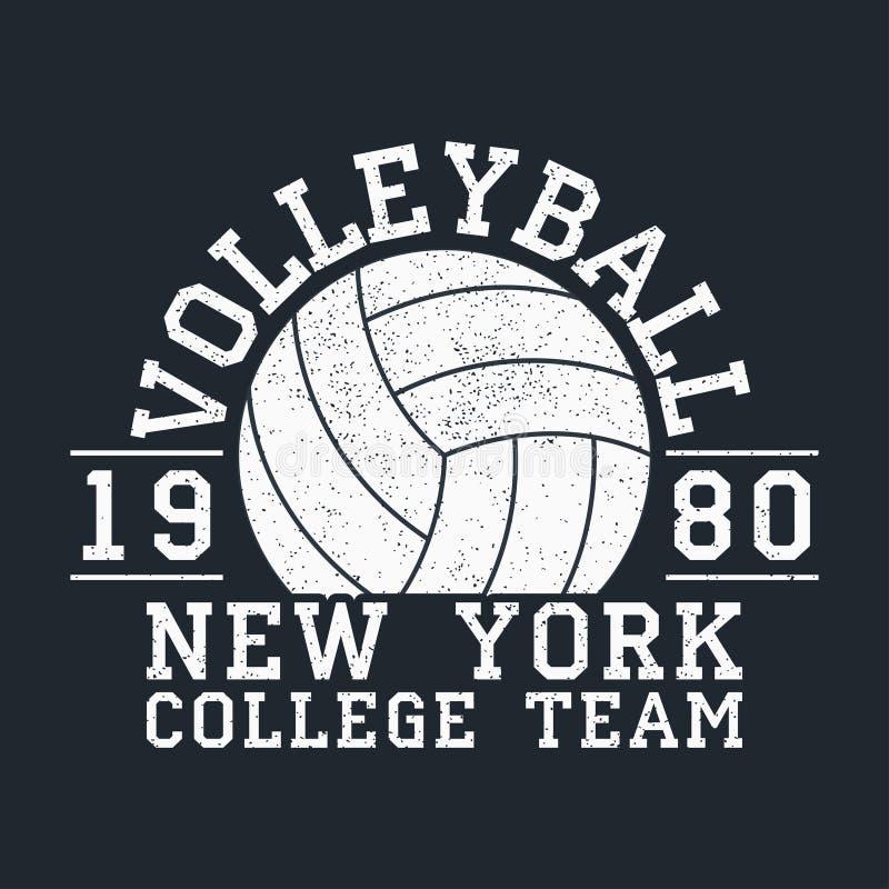 Volleyball-New- Yorkschmutzdruck für Kleid mit Ball Typografieemblem für T-Shirt Design für athletische Kleidung Vektor vektor abbildung