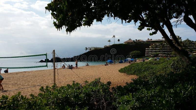 Volleyball op het strand in Maui royalty-vrije stock foto