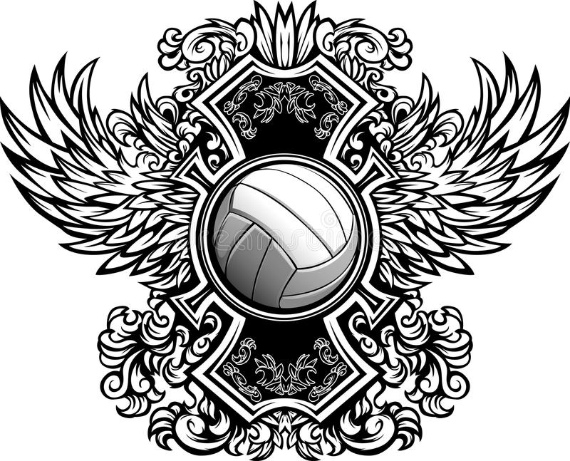 Volleyball Ornate Graphic Template Stock Vector - Illustration of ...