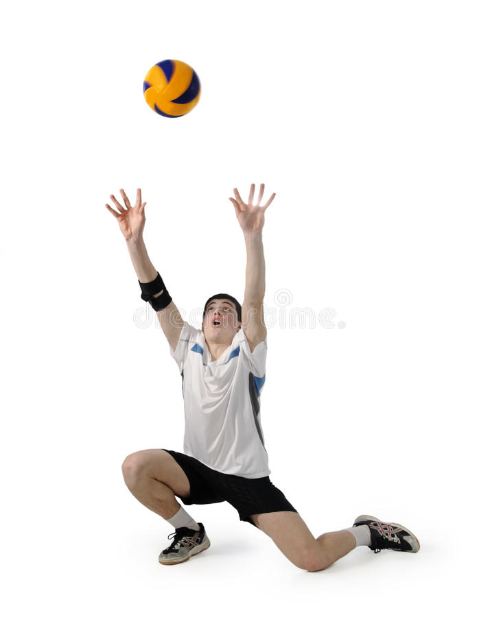 Download Volleyball Player With The Ball On A White Stock Photo - Image: 18776082