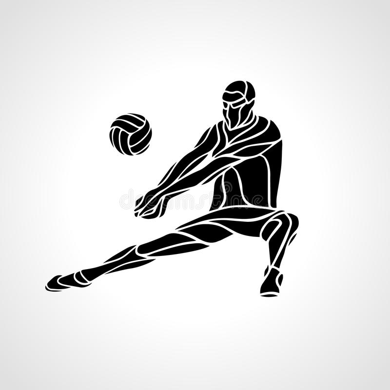Volleyball Player Receive Ball Silhouette Stock Vector ...