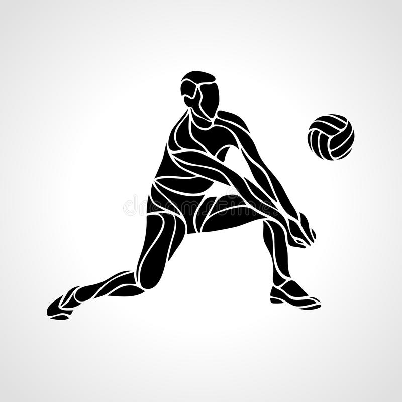 Volleyball Player Silhouette Stock Vector - Illustration ...