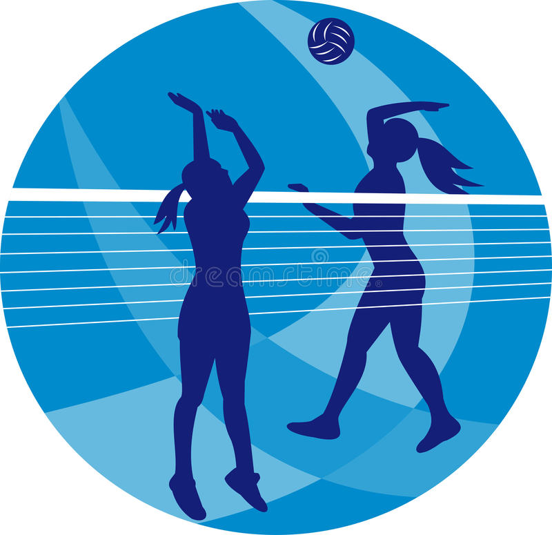 Volleyball Player Spiking Blocking Ball. Illustration of a female volleyball player spiking hitting ball with other player blocking on isolated background stock illustration