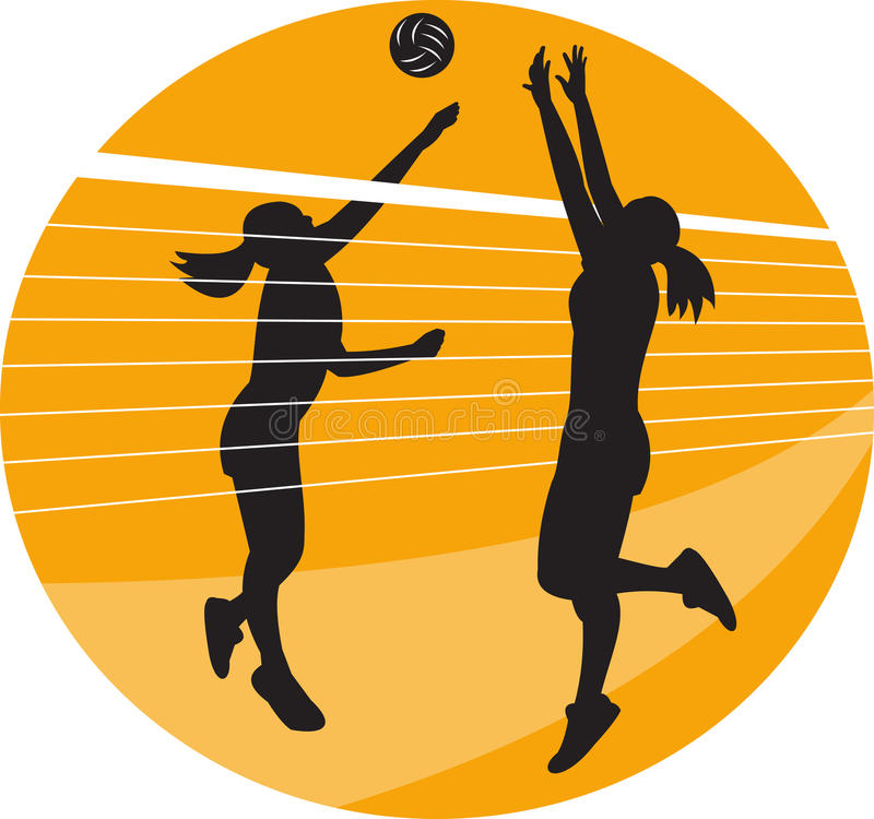 Volleyball Player Spiking Blocking Ball. Illustration of a female volleyball player spiking hitting ball with other player blocking on isolated background vector illustration