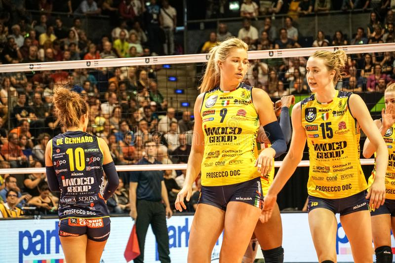 Volleyball players Karsta Lowe and Kimberly Hill. Berlin, Germany - May 21, 2019: American volleyball players Karsta Lowe and Kimberly Hill, part of the Italian stock photo