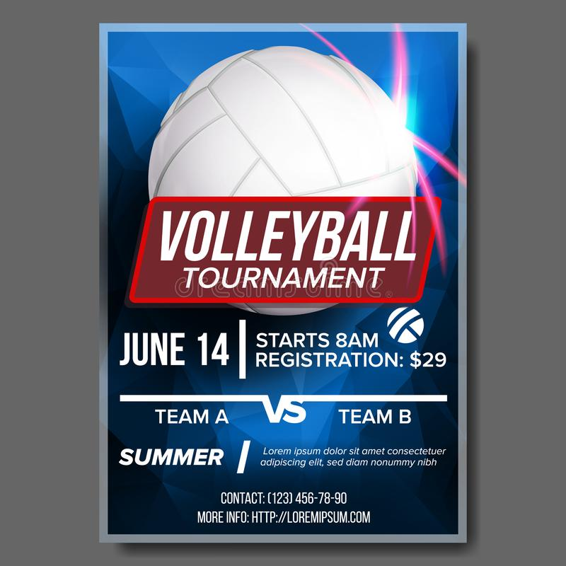 Volleyball Poster Vector. Sport Event Announcement. Ball. Banner Advertising. Event Promo. Template Design. Professional. Volleyball Poster Vector. Banner royalty free illustration