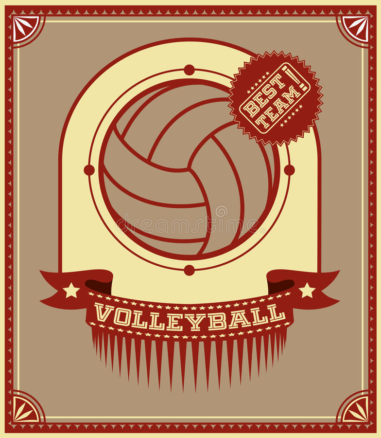 Volleyball retro poster stock illustration