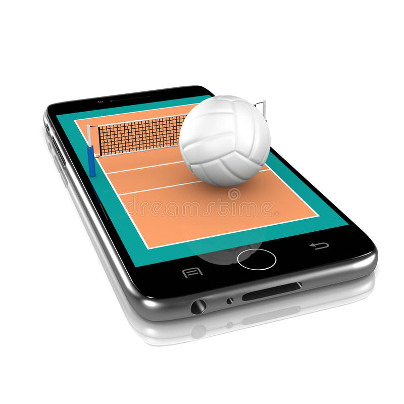 Volleyball on Smartphone, Sports App royalty free illustration