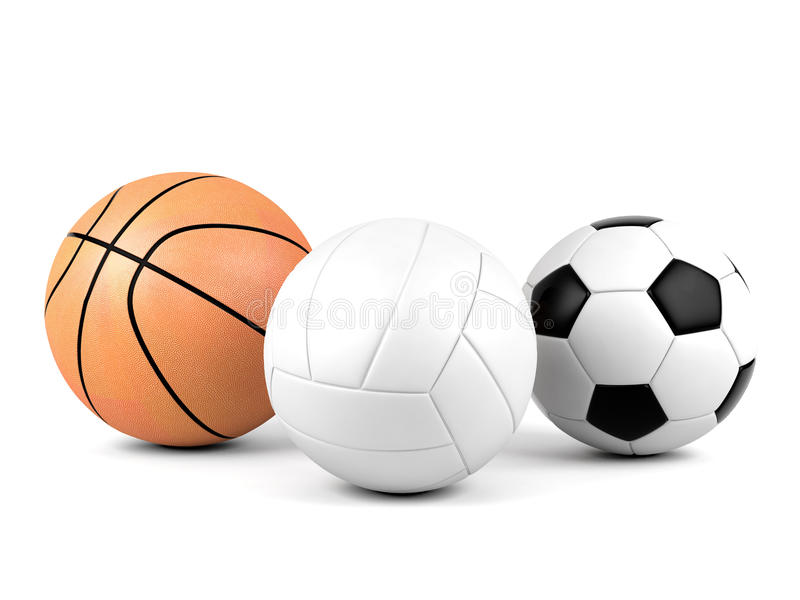 Volleyball, soccer ball, basketball, sport balls on white background royalty free stock photography