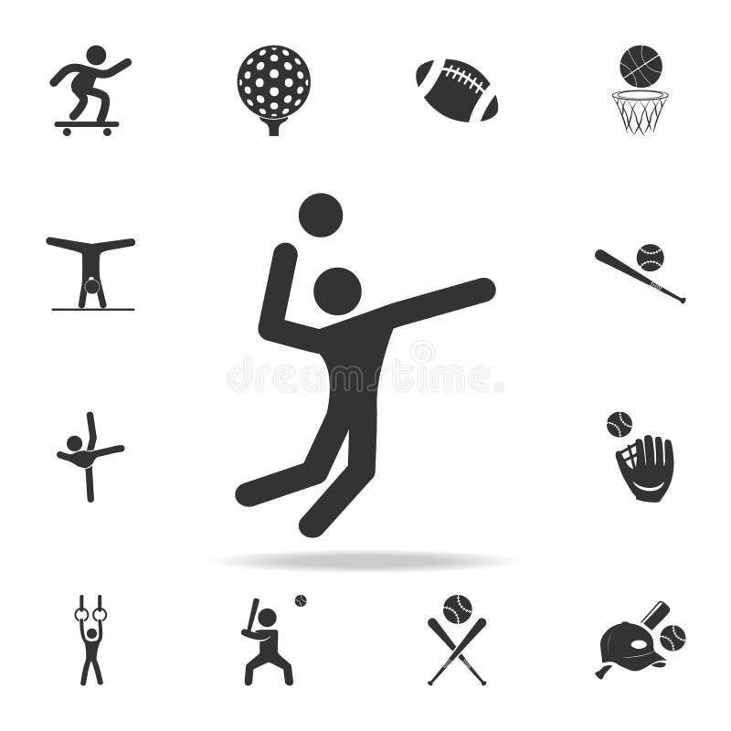 Volleyball-Spieler-Ikone Ausführlicher Satz Athleten- und Zubehörikonen Erstklassiges Qualitätsgrafikdesign Ein der Sammlungsikon vektor abbildung