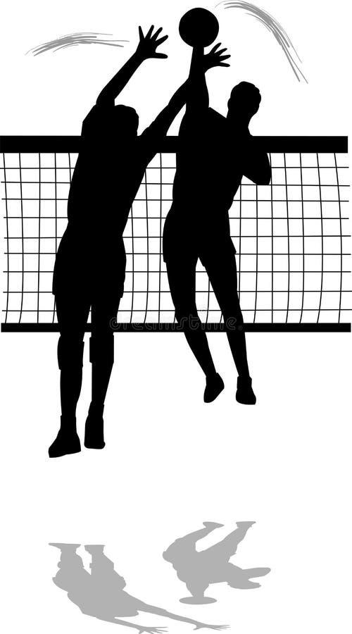 Volleyball-Spitzen-und Block-Männer stock abbildung