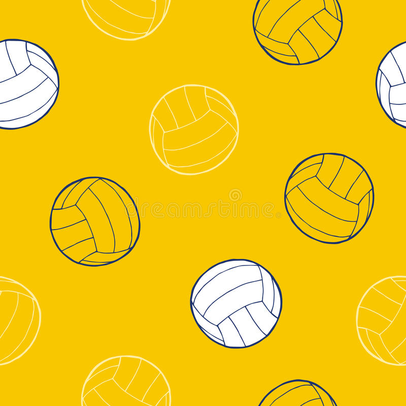 Volleyball sport ball graphic art yellow blue white background seamless pattern illustration. Vector vector illustration