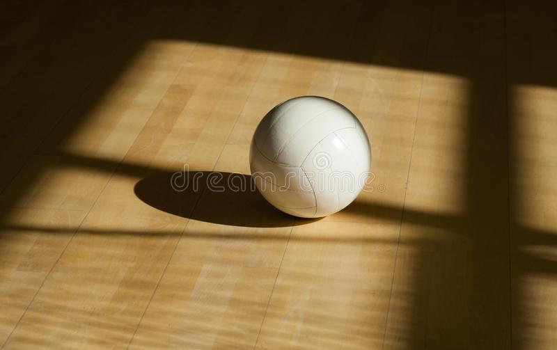 Volleyball sur le parquet avec le fond noir photo libre de droits