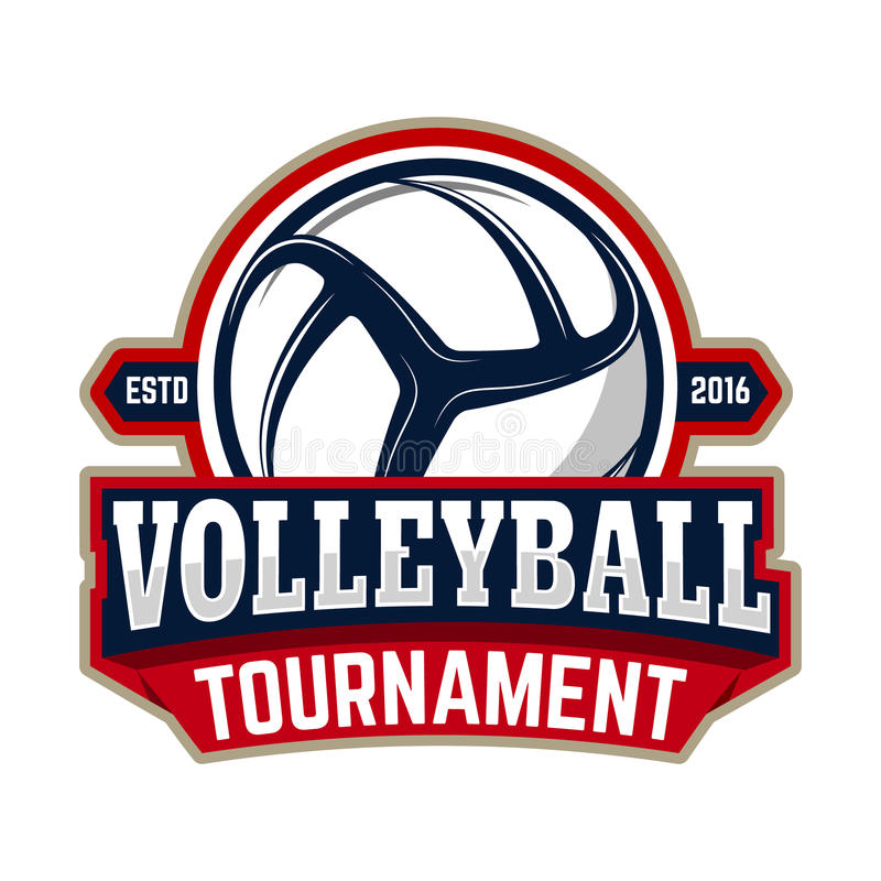 volleyball tournament. Emblem template with volleyball ball. Design element for logo, label, sign. vector illustration