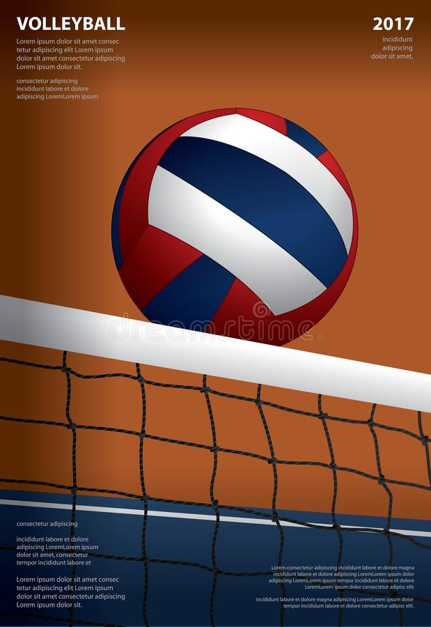 Volleyball Tournament Poster Template Design stock illustration