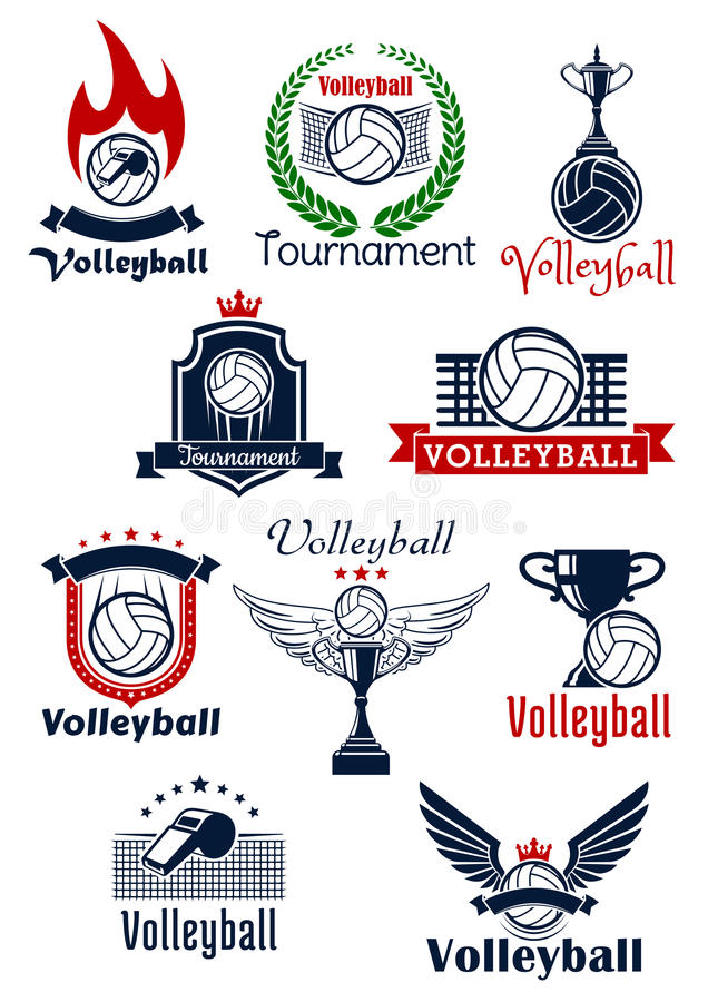 Volleyball tournament or team symbols. Volleyball tournament or sport team emblems with balls, trophies and whistles with wings, stars, flame and crowns royalty free illustration