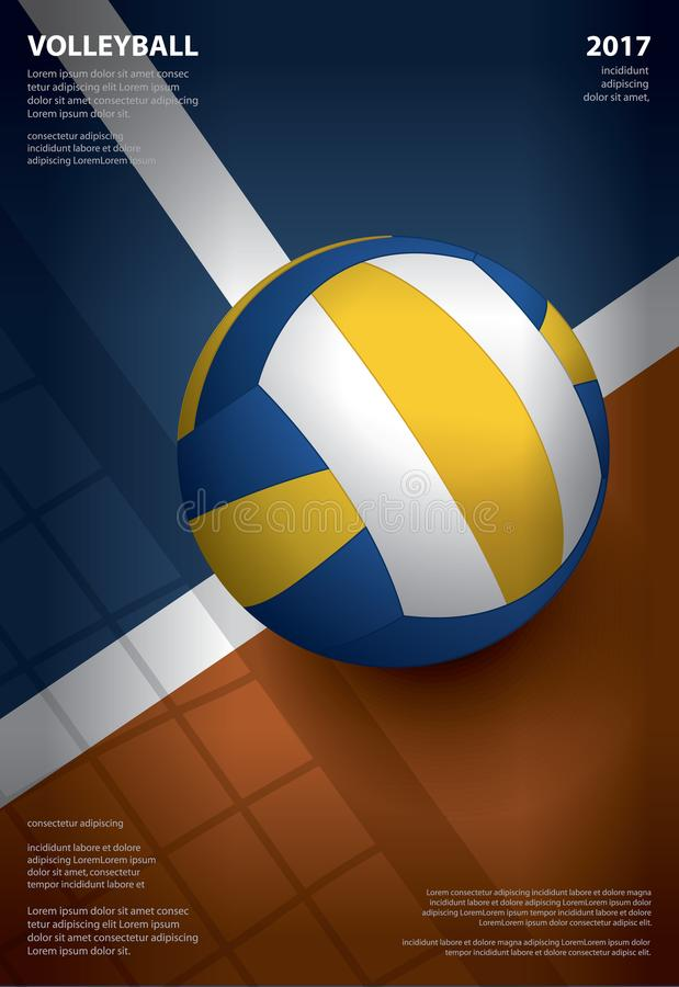 Volleyball-Turnier-Plakat-Schablonen-Design lizenzfreie abbildung