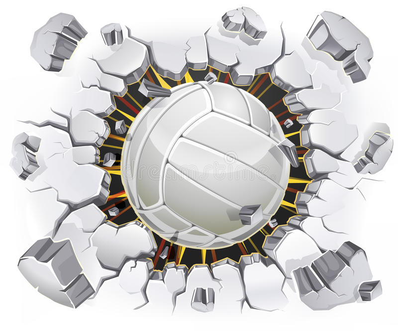 Volleyball und alter Gipswandschaden. stock abbildung