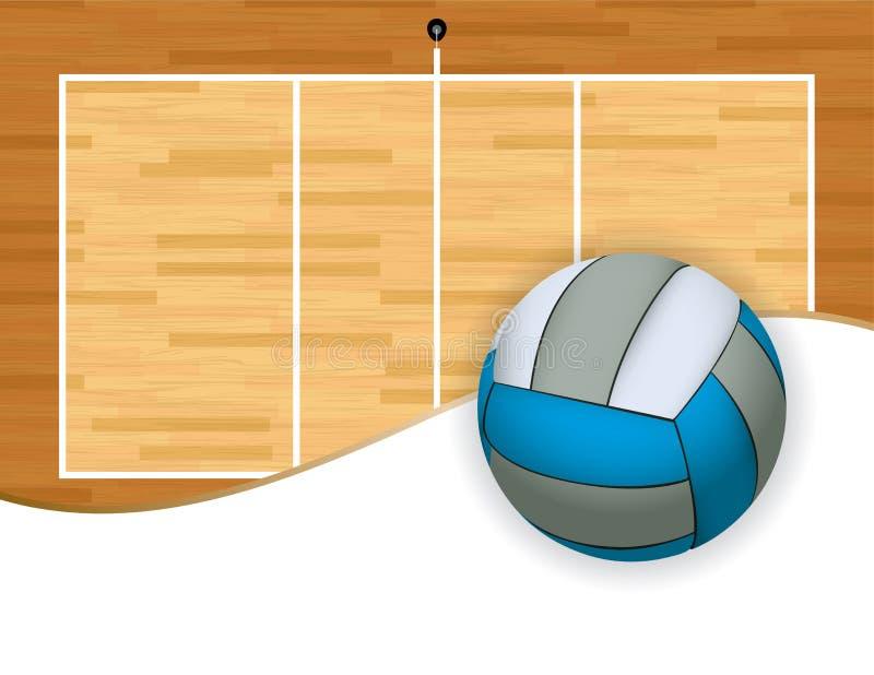 Volleyball und Gericht mit Copyspace-Illustration lizenzfreie abbildung