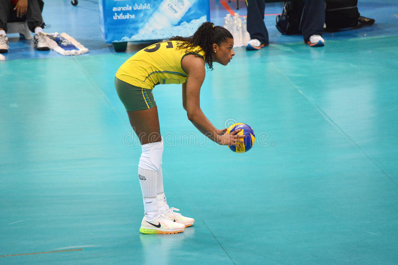 Volleyball WGP : Brazil VS USA. Fernanda Rodrigues, Brazil Team at Volleyball world grand prix 2014, PRELIMINARY ROUND Pools Composition - POOL A-I (August 1-24 stock image
