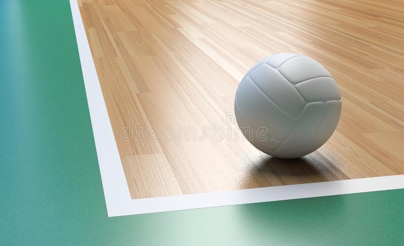 Volleyball with white color on Wooden Court Floor Corner. Volleyball on Wooden Court Floor Corner close up with light reflection 3D rendering with room for text vector illustration
