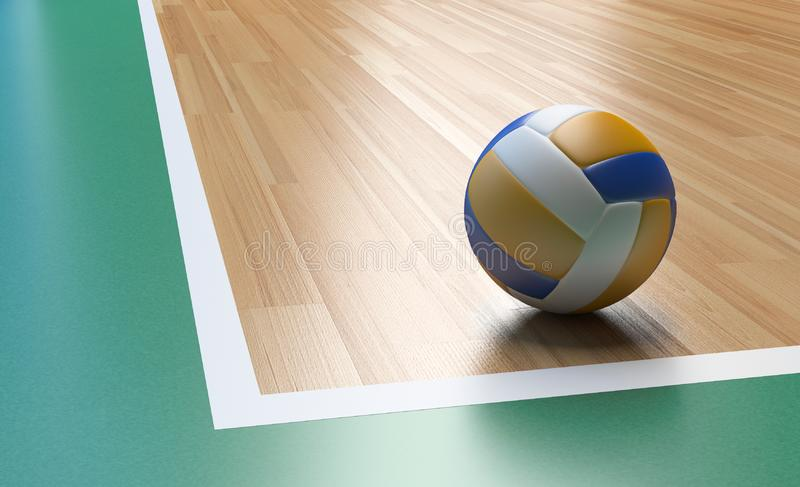 Volleyball on Wooden Court Floor Corner. Close up with light reflection 3D rendering with room for text or copy space stock illustration