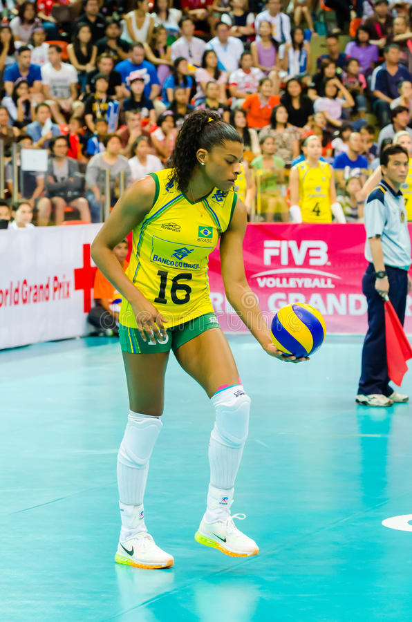Volleyball World Grand Prix 2014. BANGKOK - AUGUST 17: Fernanda Rodrigues of Brazil Volleyball Team in action during The Volleyball World Grand Prix 2014 at royalty free stock image