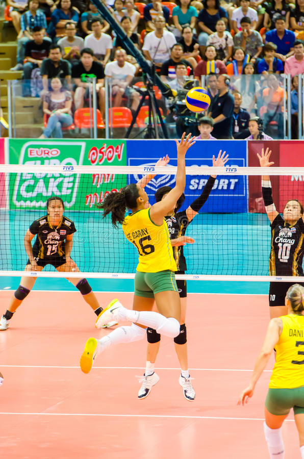Volleyball World Grand Prix 2014. BANGKOK - AUGUST 17: Fernanda Rodrigues of Brazil Volleyball Team in action during The Volleyball World Grand Prix 2014 at stock photos