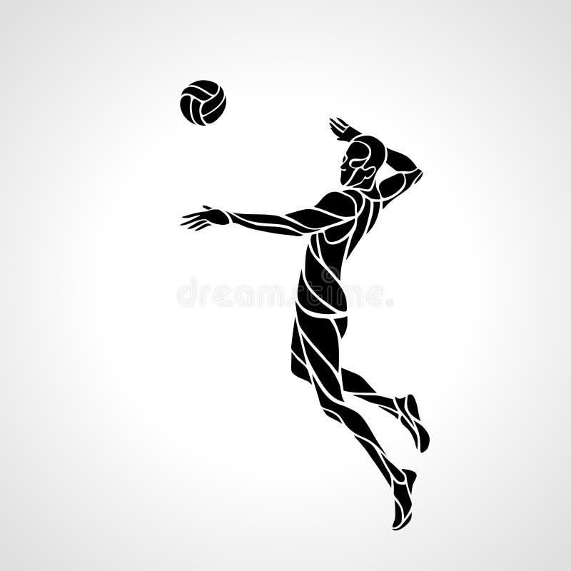 Volleyballangreifer-Spielerschattenbild vektor abbildung