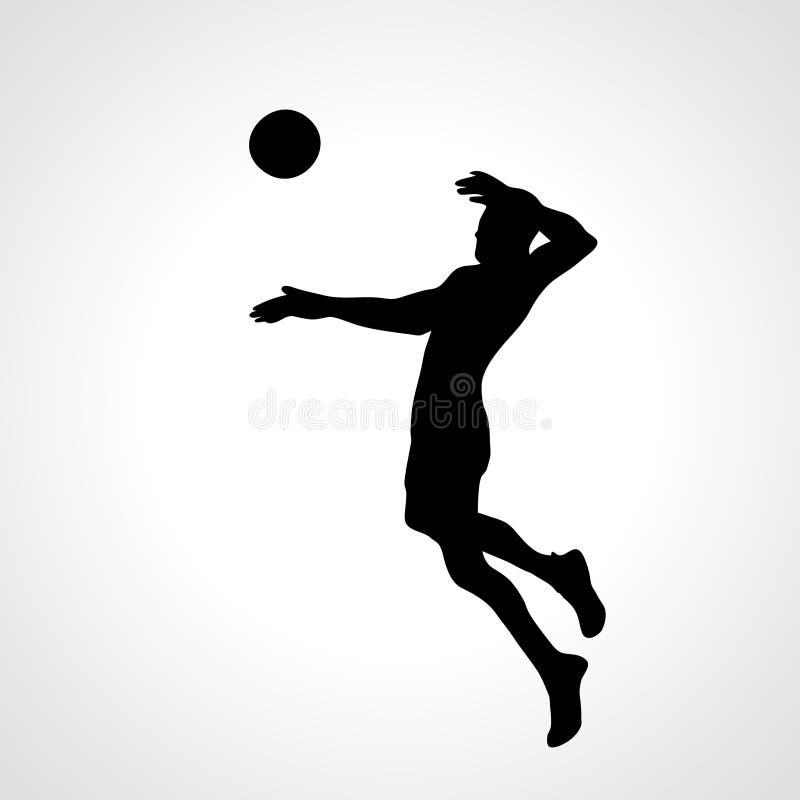 Volleyballangreifer-Spielerschattenbild lizenzfreie abbildung
