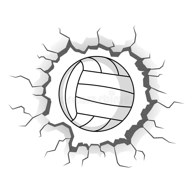 Volleyballball gehaftet auf einem Wandsprung stock abbildung
