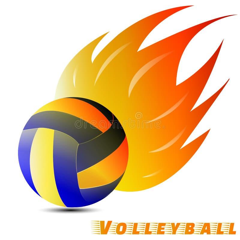 Volleyballball mit rotem Ton des orange Gelbs des Feuers im weißen Hintergrund Volleyballlogoverein Vektor Abbildung graphik lizenzfreie abbildung