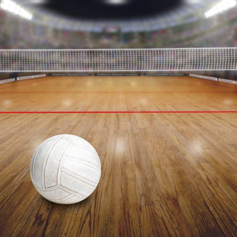 Volleyballhof met Bal op Houten Vloer en Exemplaarruimte royalty-vrije stock foto