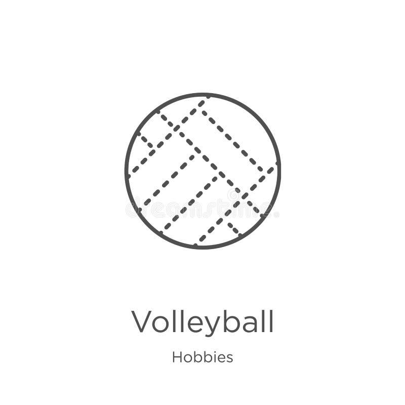 Volleyballikonenvektor von der Hobbysammlung D?nne Linie Volleyballentwurfsikonen-Vektorillustration Entwurf, d?nne Linie stock abbildung