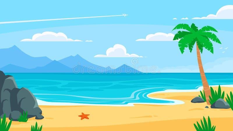 Volleyballkugel auf leerem sch?nem Strand Sandy-K?ste, Seek?ste mit Palme und Berufungsk?stenreisevektorkarikaturhintergrund stock abbildung