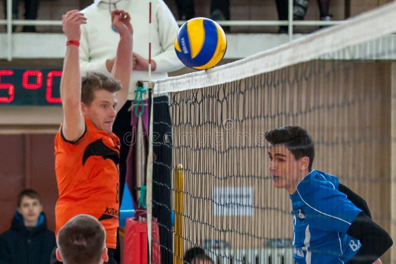 Volleyballspel stock foto's