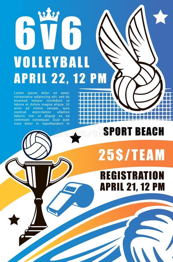 Volleyballsportteam, Strandturnier lizenzfreie abbildung