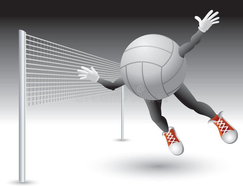 Volleyballzeichenflugwesen in Richtung zum Netz stock abbildung