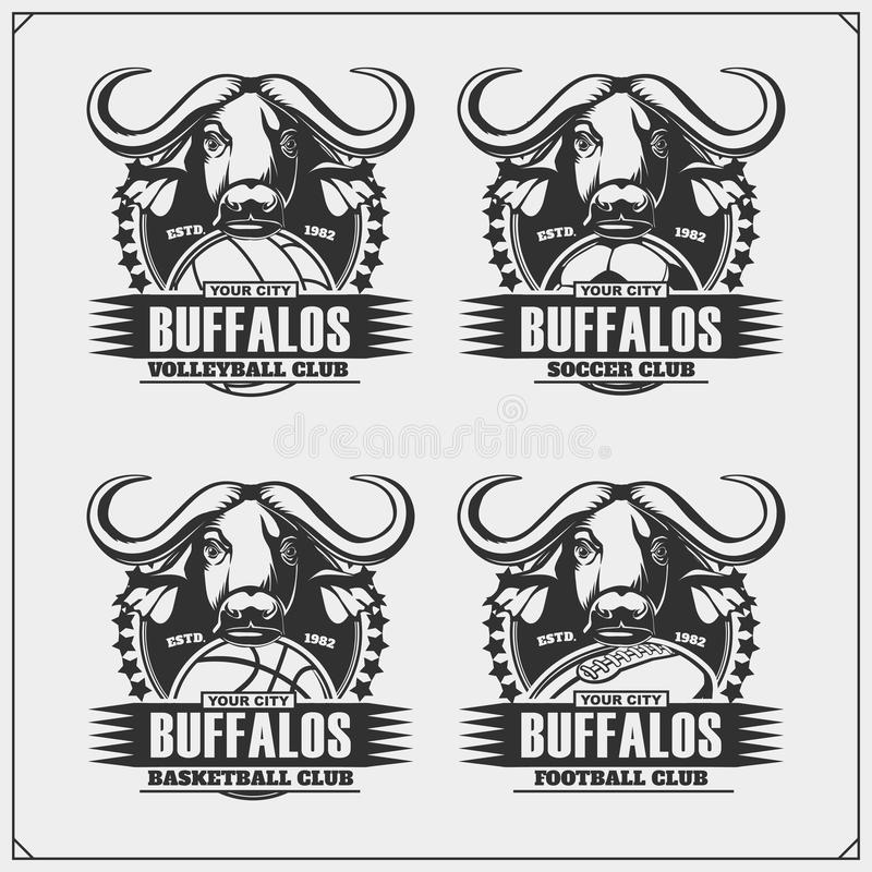 Volleyboll, baseball, fotboll och fotbolllogoer och etiketter Emblem för sportklubba med buffeln royaltyfri illustrationer