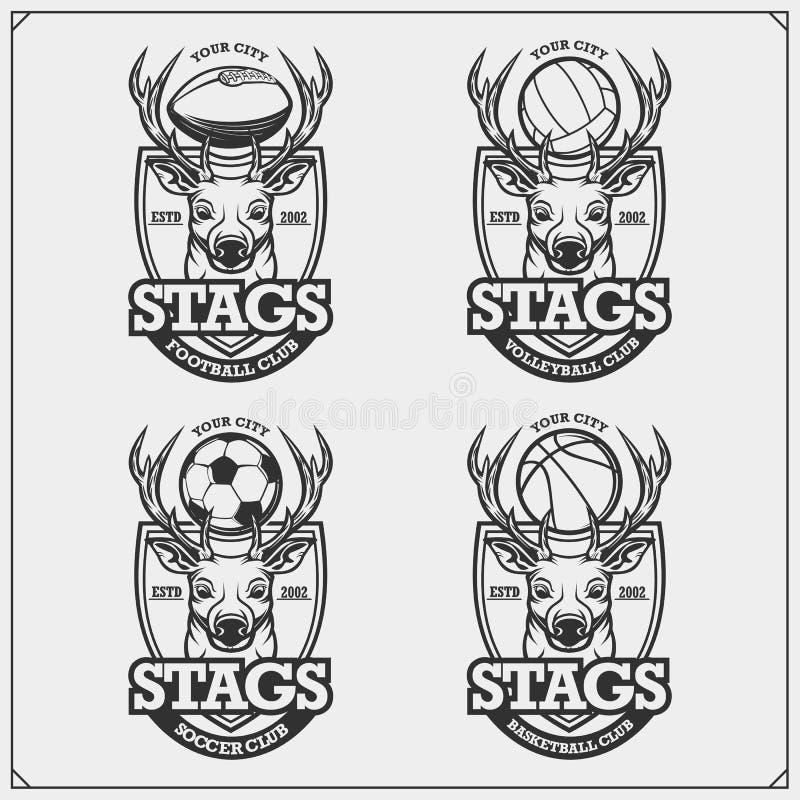 Volleyboll, basket, fotboll och fotbolllogoer och etiketter Emblem för sportklubba med hjortar eller fullvuxna hankronhjorten Try stock illustrationer