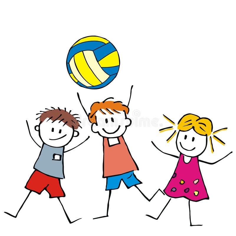 Volleyboll, tre ungar och boll, vektorsymbol vektor illustrationer