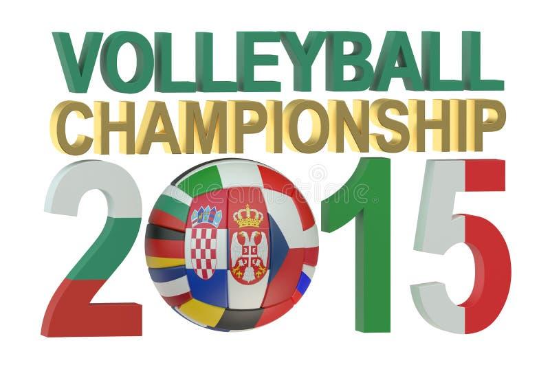 Volleybolleuropén mans det mästerskapbegreppet 2015 royaltyfri illustrationer