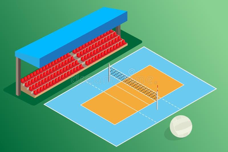 Volleybolljordutomhus- stadion stock illustrationer