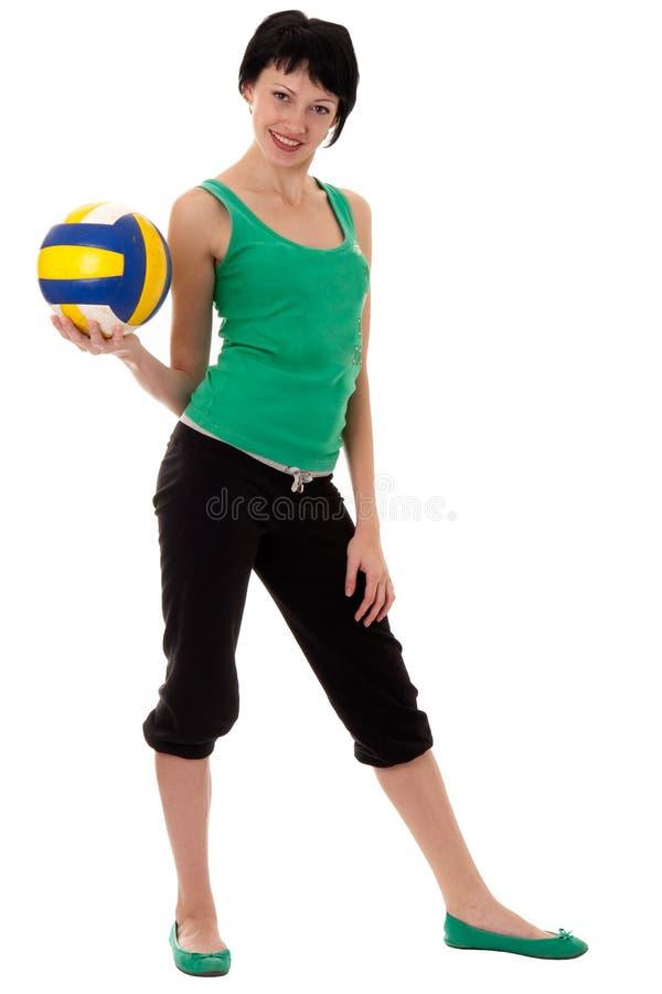 volleybollkvinnabarn royaltyfri foto